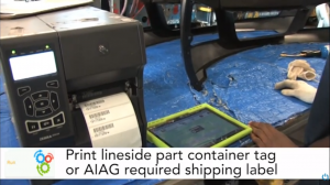 Mobility MES app print-lineside-container-tags-aiag-shipping-label