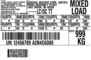 bar code label General Motors Mixed Load Label