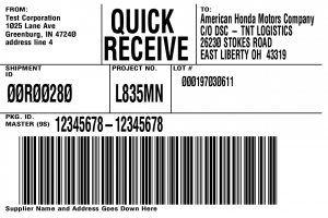 bar code label Honda Quick Receive Label