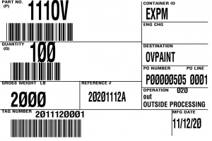 bar code label outside vendor processing container tag